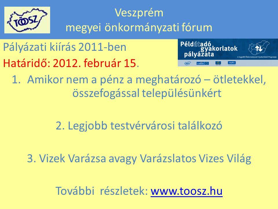 Veszprém megyei önkormányzati fórum Pályázati kiírás 2011-ben Határidő: 2012.