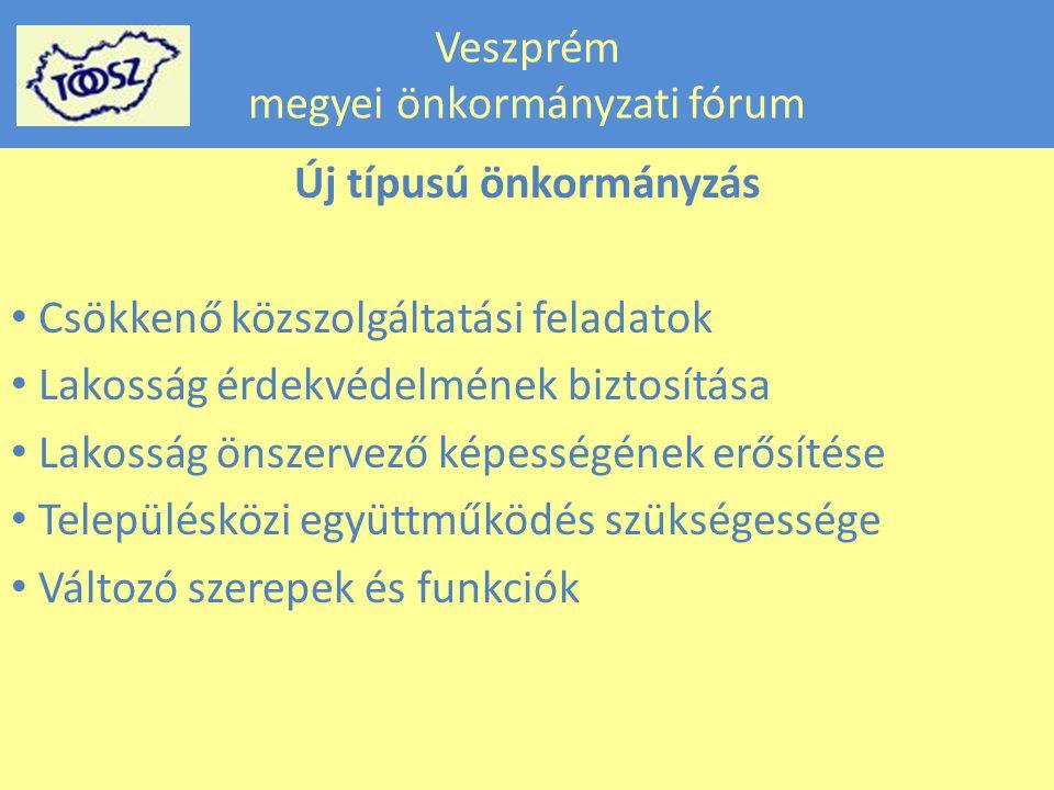 Veszprém megyei önkormányzati fórum Új típusú önkormányzás Csökkenő közszolgáltatási feladatok Lakosság érdekvédelmének biztosítása Lakosság önszervező képességének erősítése Településközi együttműködés szükségessége Változó szerepek és funkciók
