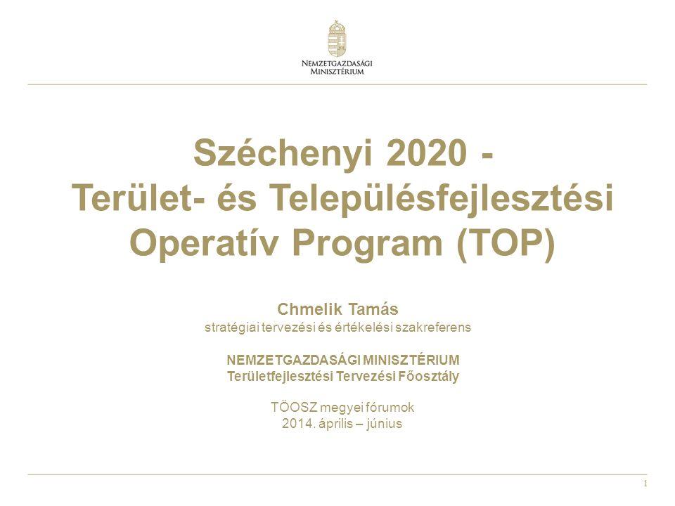 1 Széchenyi 2020 - Terület- és Településfejlesztési Operatív Program (TOP) NEMZETGAZDASÁGI MINISZTÉRIUM Területfejlesztési Tervezési Főosztály TÖOSZ m