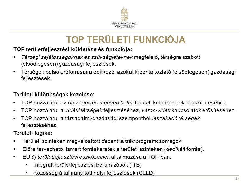 13 TOP TERÜLETI FUNKCIÓJA TOP területfejlesztési küldetése és funkciója: Térségi sajátosságoknak és szükségleteknek megfelelő, térségre szabott (elsőd
