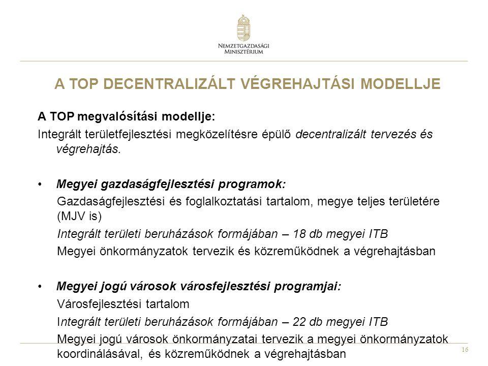 16 A TOP DECENTRALIZÁLT VÉGREHAJTÁSI MODELLJE A TOP megvalósítási modellje: Integrált területfejlesztési megközelítésre épülő decentralizált tervezés