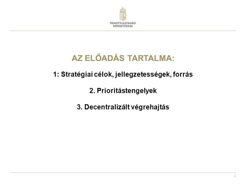 2 AZ ELŐADÁS TARTALMA: 1: Stratégiai célok, jellegzetességek, forrás 2. Prioritástengelyek 3. Decentralizált végrehajtás