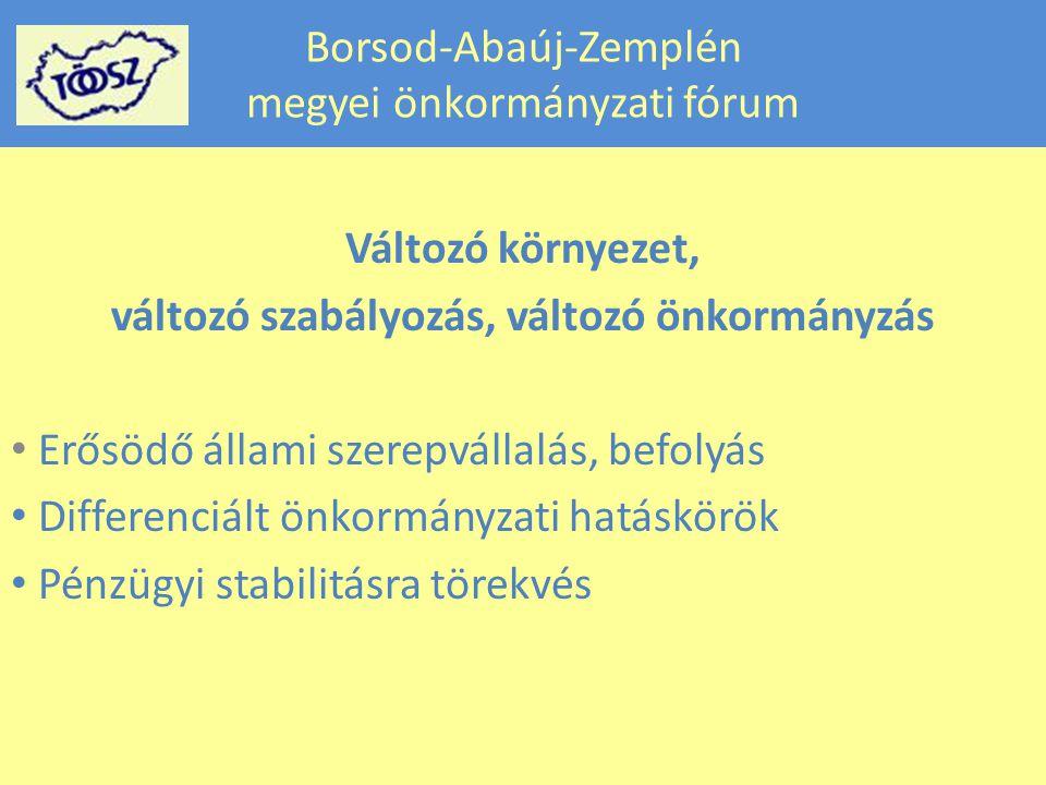 Borsod-Abaúj-Zemplén megyei önkormányzati fórum Változó környezet, változó szabályozás, változó önkormányzás Erősödő állami szerepvállalás, befolyás Differenciált önkormányzati hatáskörök Pénzügyi stabilitásra törekvés