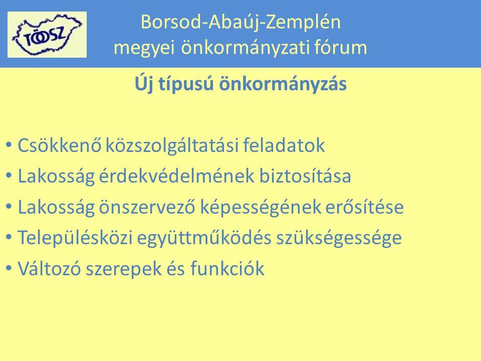 Borsod-Abaúj-Zemplén megyei önkormányzati fórum Új típusú önkormányzás Csökkenő közszolgáltatási feladatok Lakosság érdekvédelmének biztosítása Lakosság önszervező képességének erősítése Településközi együttműködés szükségessége Változó szerepek és funkciók