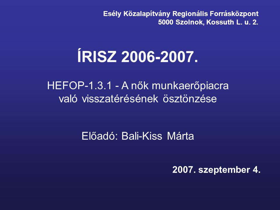 Esély Közalapítvány Regionális Forrásközpont 5000 Szolnok, Kossuth L. u. 2. ÍRISZ 2006-2007. HEFOP-1.3.1 - A nők munkaerőpiacra való visszatérésének ö