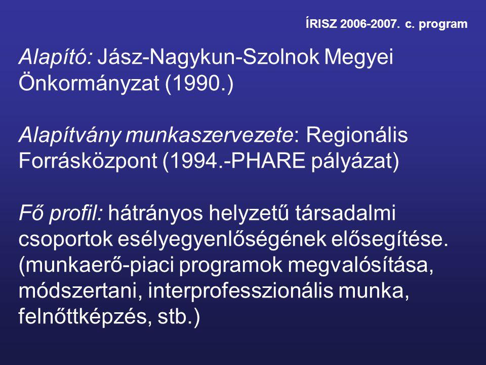 ÍRISZ 2006-2007. c. program Alapító: Jász-Nagykun-Szolnok Megyei Önkormányzat (1990.) Alapítvány munkaszervezete: Regionális Forrásközpont (1994.-PHAR