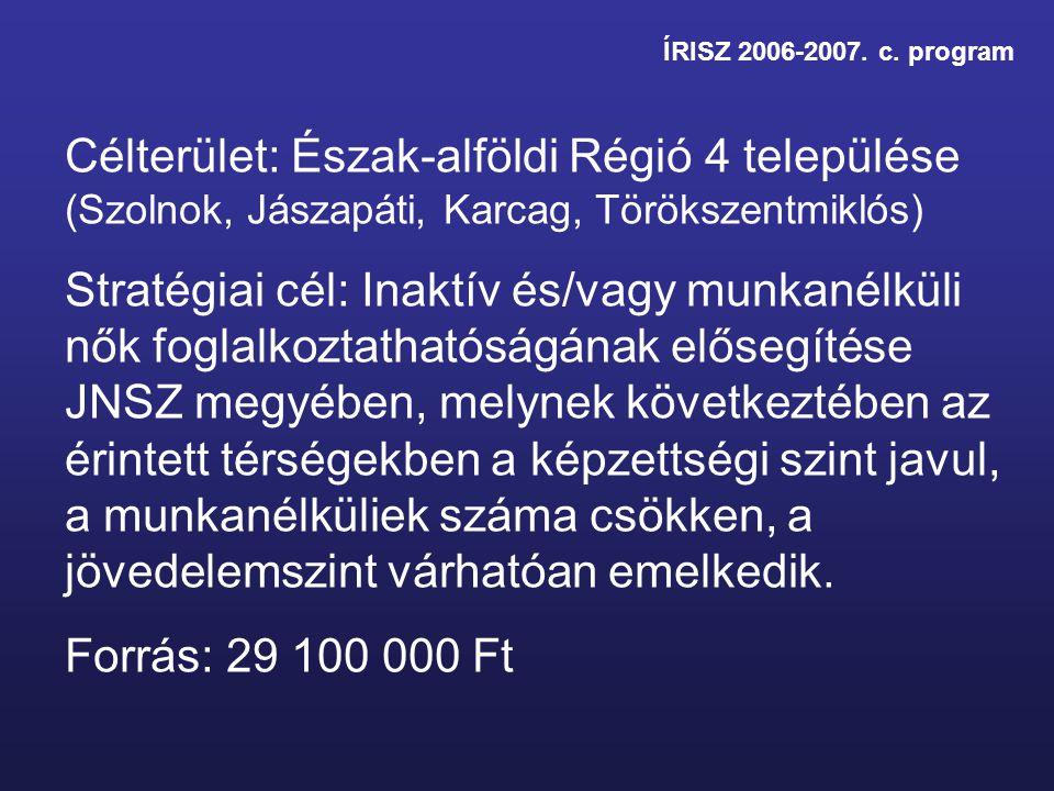 ÍRISZ 2006-2007. c. program Célterület: Észak-alföldi Régió 4 települése (Szolnok, Jászapáti, Karcag, Törökszentmiklós) Stratégiai cél: Inaktív és/vag