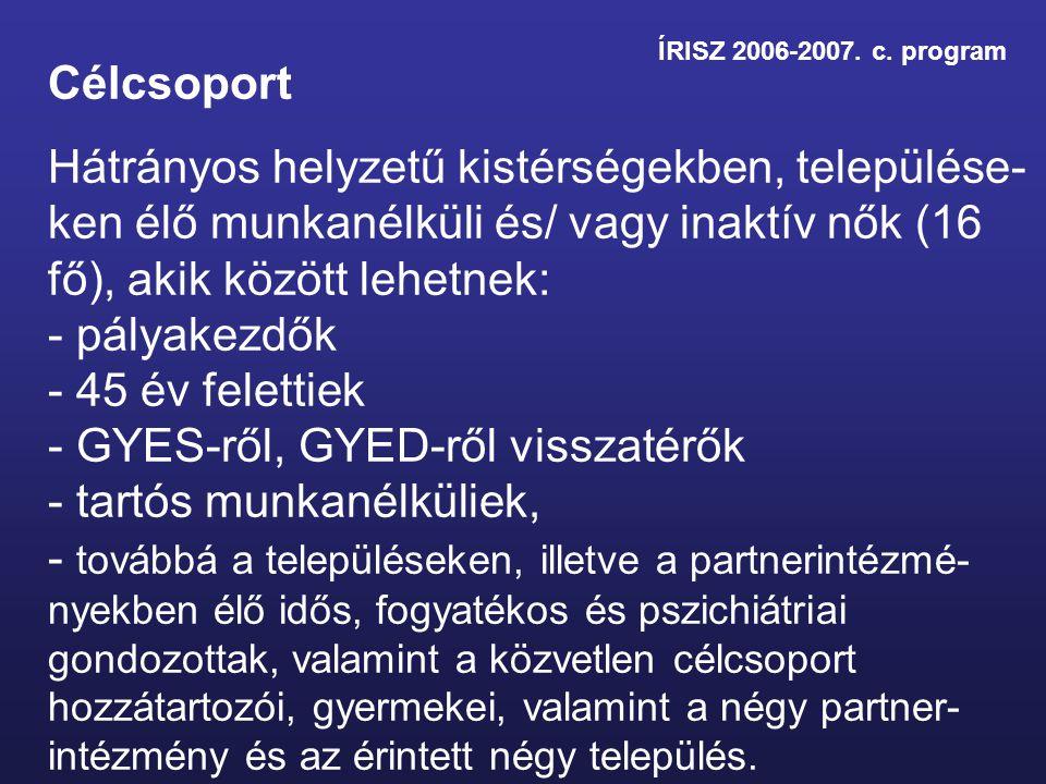ÍRISZ 2006-2007. c. program Célcsoport Hátrányos helyzetű kistérségekben, települése- ken élő munkanélküli és/ vagy inaktív nők (16 fő), akik között l
