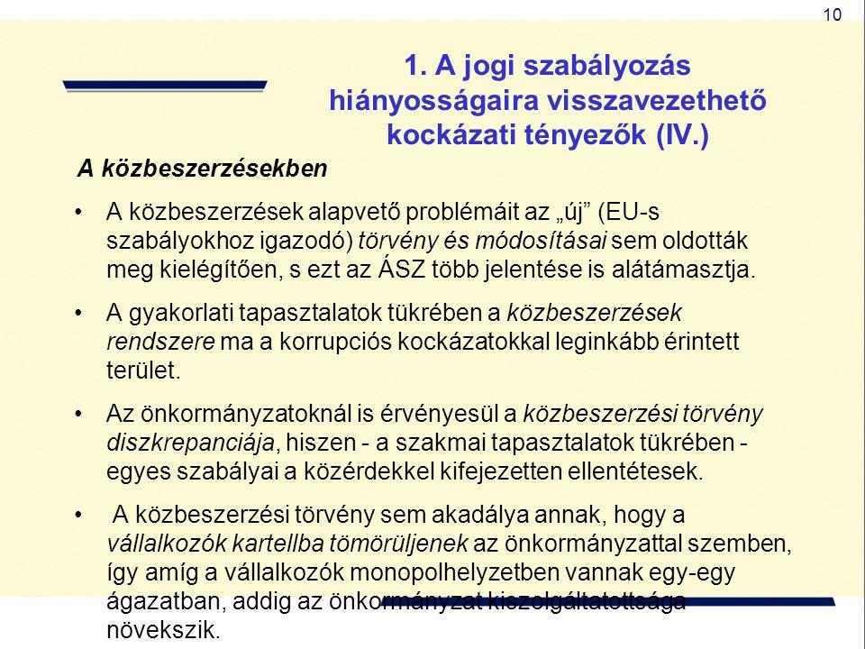 """10 1. A jogi szabályozás hiányosságaira visszavezethető kockázati tényezők (IV.) A közbeszerzésekben A közbeszerzések alapvető problémáit az """"új"""" (EU-"""