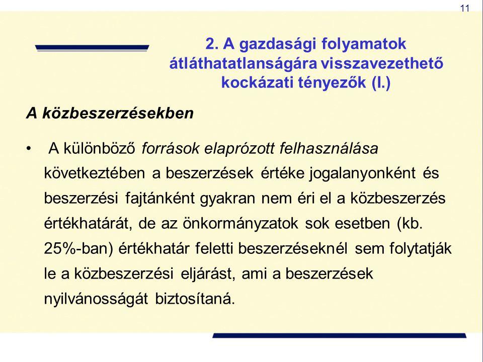 11 2. A gazdasági folyamatok átláthatatlanságára visszavezethető kockázati tényezők (I.) A közbeszerzésekben A különböző források elaprózott felhaszná