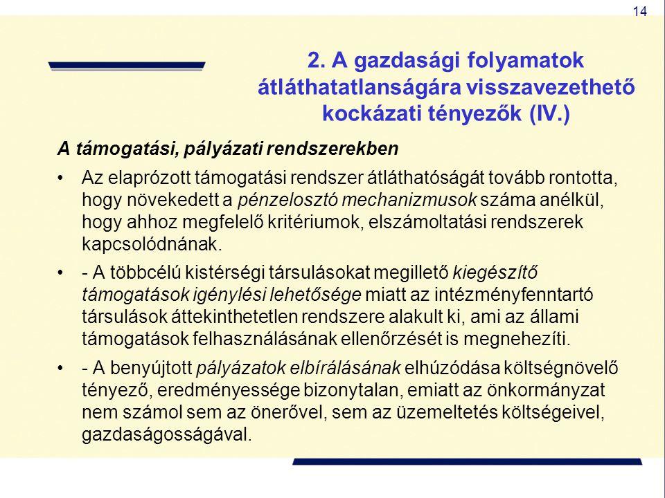 14 2. A gazdasági folyamatok átláthatatlanságára visszavezethető kockázati tényezők (IV.) A támogatási, pályázati rendszerekben Az elaprózott támogatá
