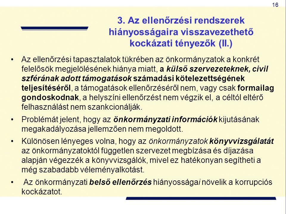 16 3. Az ellenőrzési rendszerek hiányosságaira visszavezethető kockázati tényezők (II.) Az ellenőrzési tapasztalatok tükrében az önkormányzatok a konk