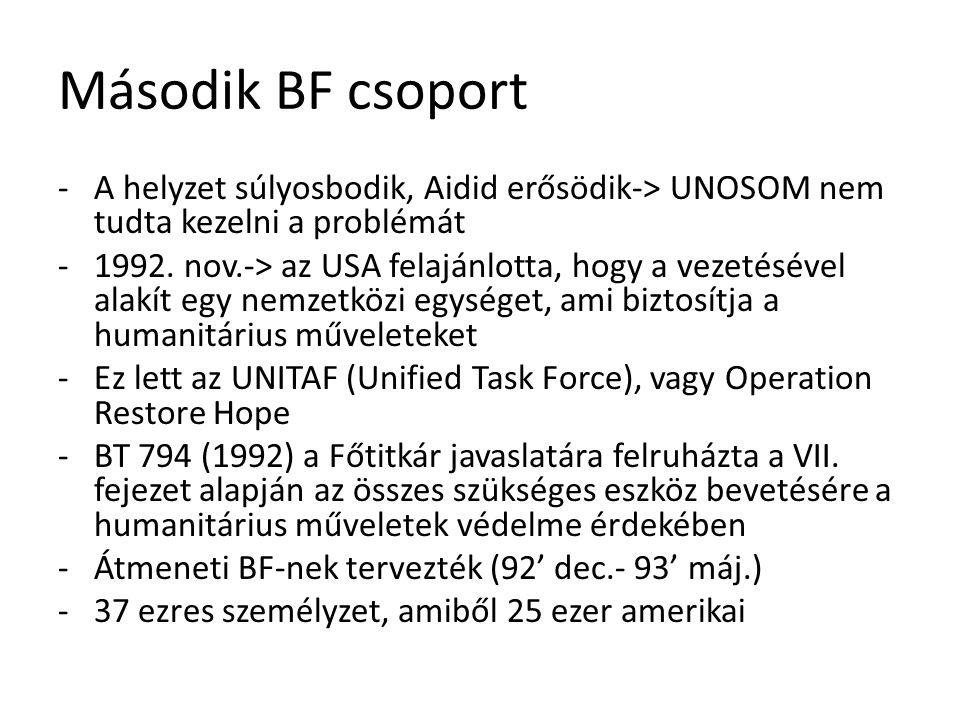 Második BF csoport -A helyzet súlyosbodik, Aidid erősödik-> UNOSOM nem tudta kezelni a problémát -1992. nov.-> az USA felajánlotta, hogy a vezetésével