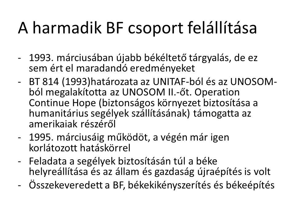 A harmadik BF csoport felállítása -1993. márciusában újabb békéltető tárgyalás, de ez sem ért el maradandó eredményeket -BT 814 (1993)határozata az UN