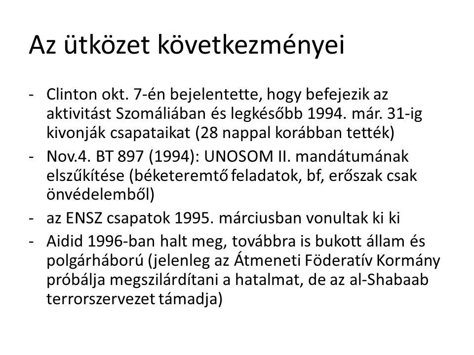 Az ütközet következményei -Clinton okt. 7-én bejelentette, hogy befejezik az aktivitást Szomáliában és legkésőbb 1994. már. 31-ig kivonják csapataikat