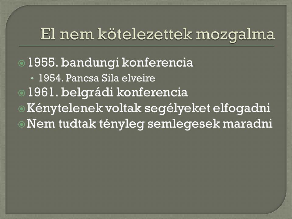  1955. bandungi konferencia 1954. Pancsa Sila elveire  1961. belgrádi konferencia  Kénytelenek voltak segélyeket elfogadni  Nem tudtak tényleg sem