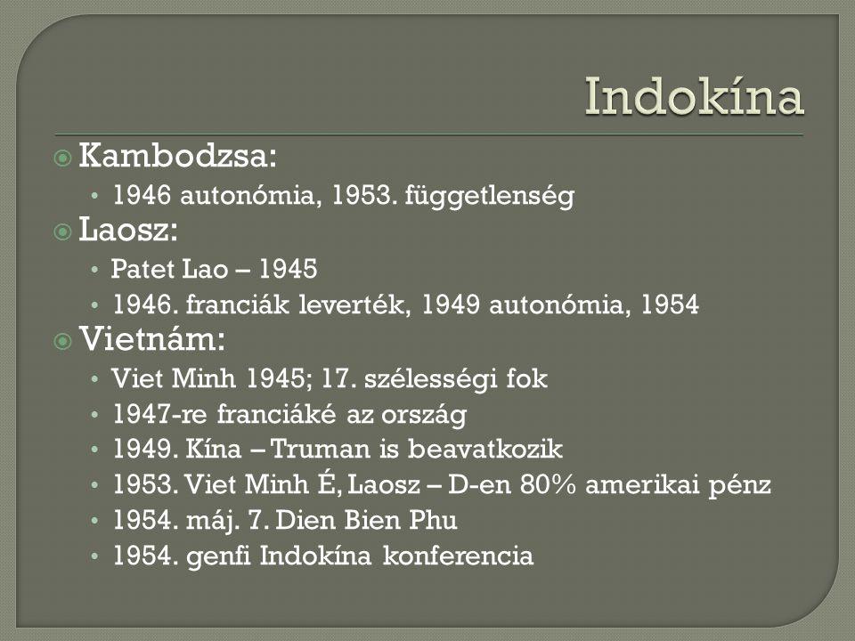  Kambodzsa: 1946 autonómia, 1953. függetlenség  Laosz: Patet Lao – 1945 1946. franciák leverték, 1949 autonómia, 1954  Vietnám: Viet Minh 1945; 17.