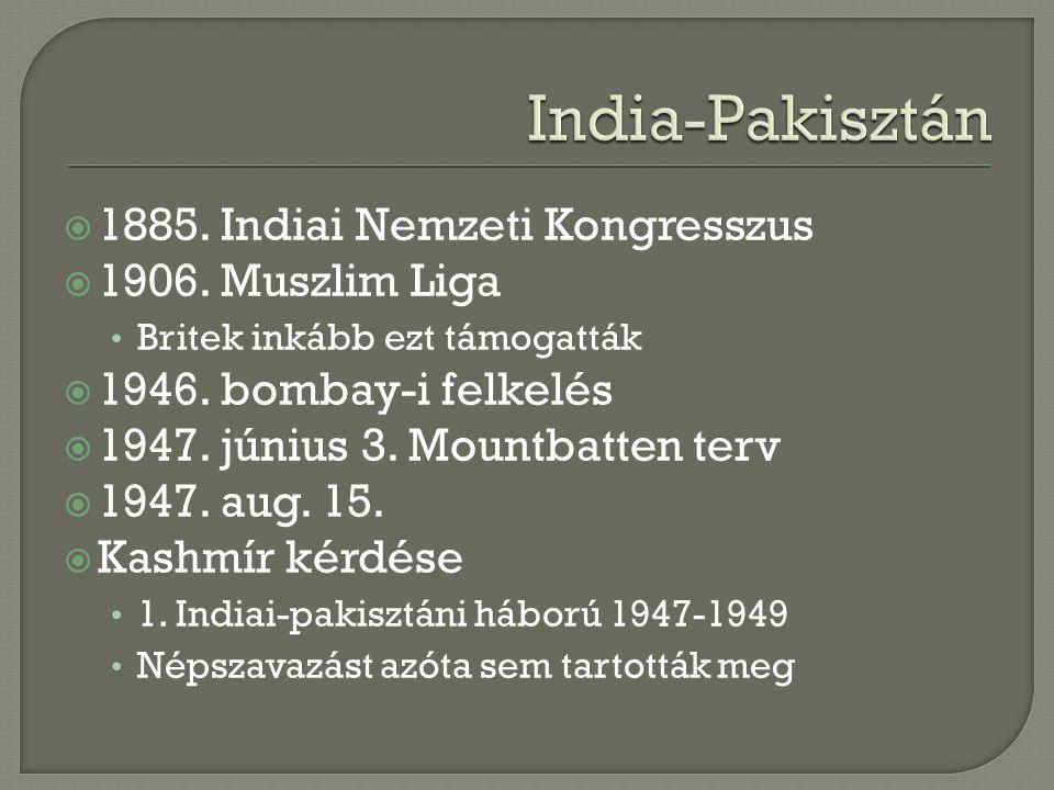  1885. Indiai Nemzeti Kongresszus  1906. Muszlim Liga Britek inkább ezt támogatták  1946. bombay-i felkelés  1947. június 3. Mountbatten terv  19