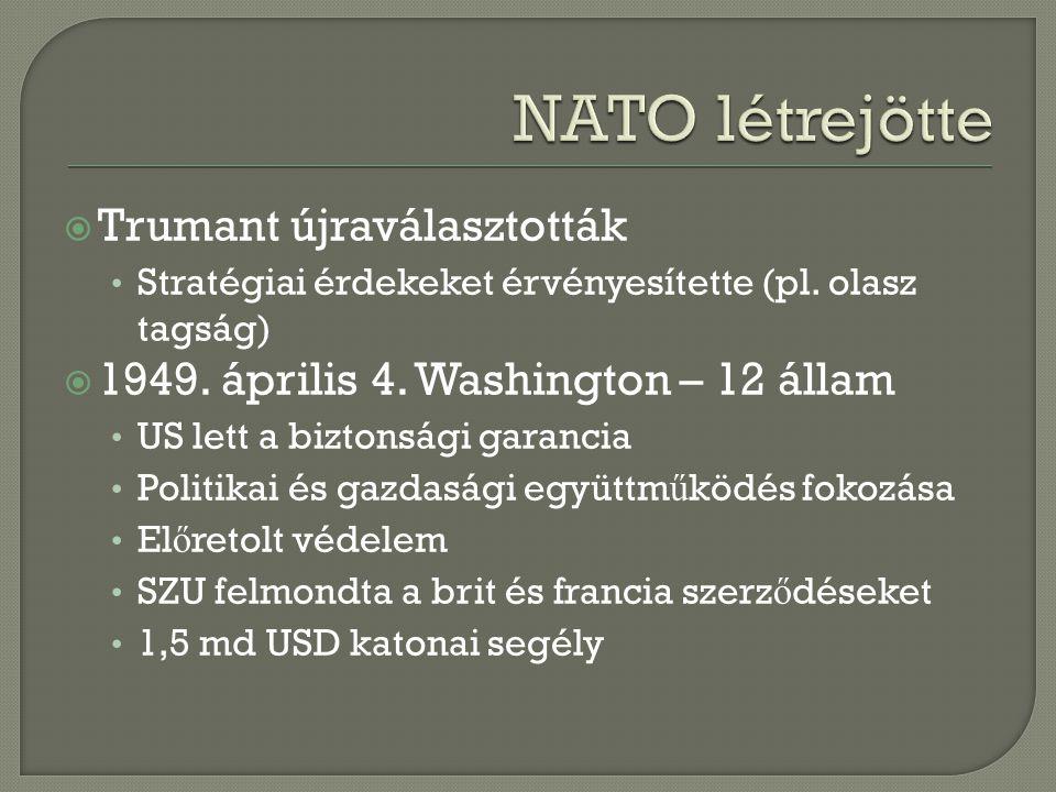  Trumant újraválasztották Stratégiai érdekeket érvényesítette (pl. olasz tagság)  1949. április 4. Washington – 12 állam US lett a biztonsági garanc