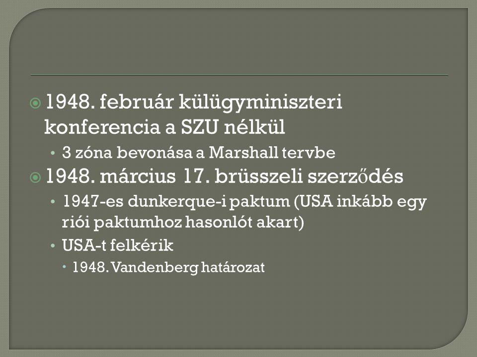  1948. február külügyminiszteri konferencia a SZU nélkül 3 zóna bevonása a Marshall tervbe  1948.