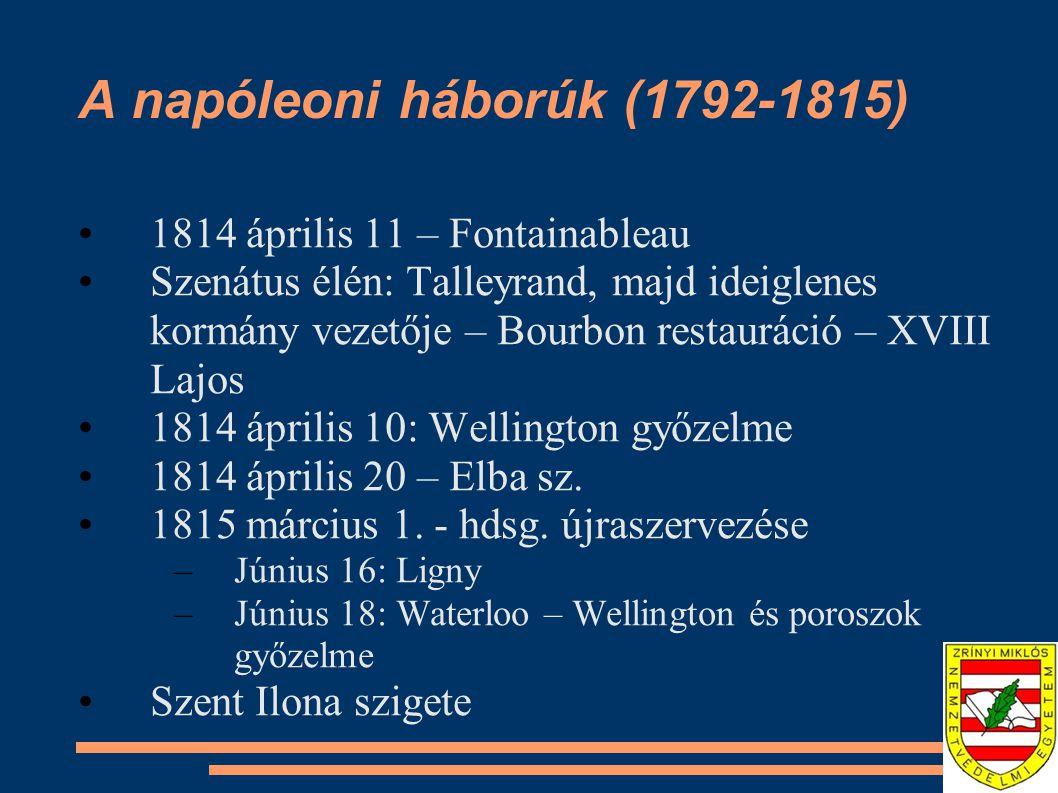 A napóleoni háborúk (1792-1815) 1814 április 11 – Fontainableau Szenátus élén: Talleyrand, majd ideiglenes kormány vezetője – Bourbon restauráció – XV