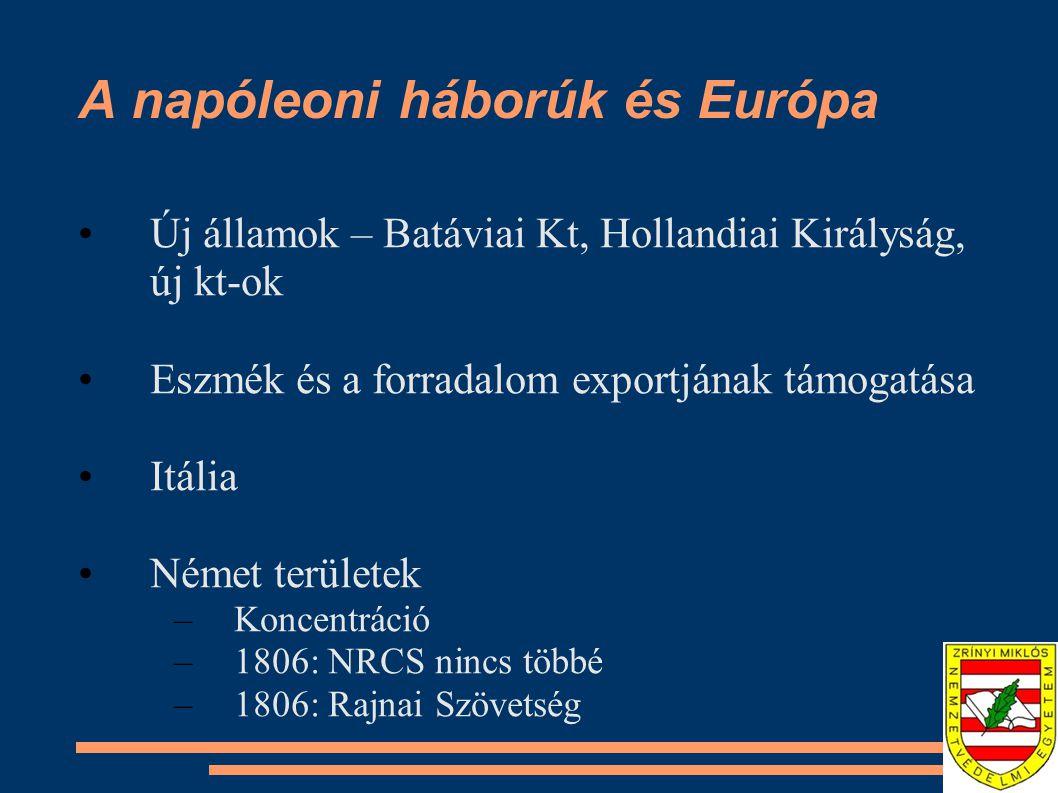 A napóleoni háborúk és Európa Új államok – Batáviai Kt, Hollandiai Királyság, új kt-ok Eszmék és a forradalom exportjának támogatása Itália Német terü