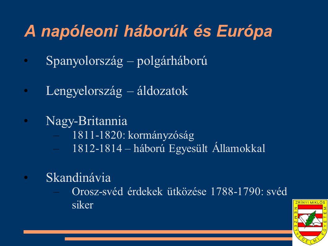 A napóleoni háborúk és Európa Spanyolország – polgárháború Lengyelország – áldozatok Nagy-Britannia –1811-1820: kormányzóság –1812-1814 – háború Egyes