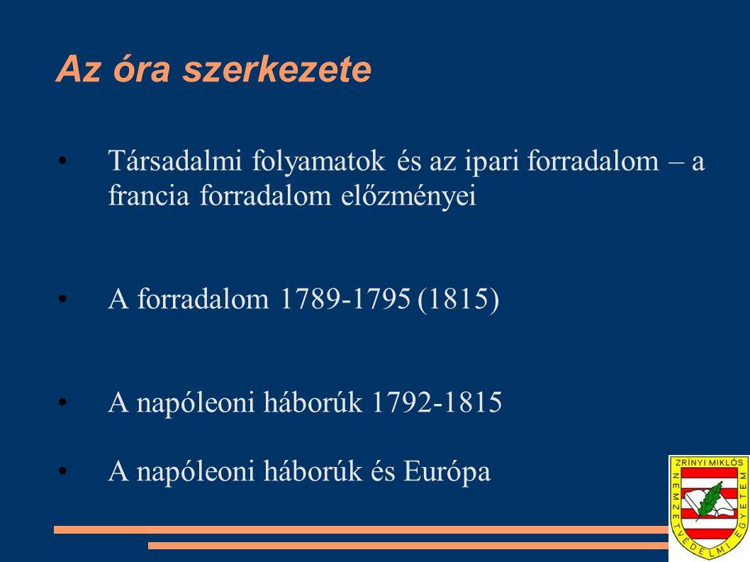 Az óra szerkezete Társadalmi folyamatok és az ipari forradalom – a francia forradalom előzményei A forradalom 1789-1795 (1815) A napóleoni háborúk 179