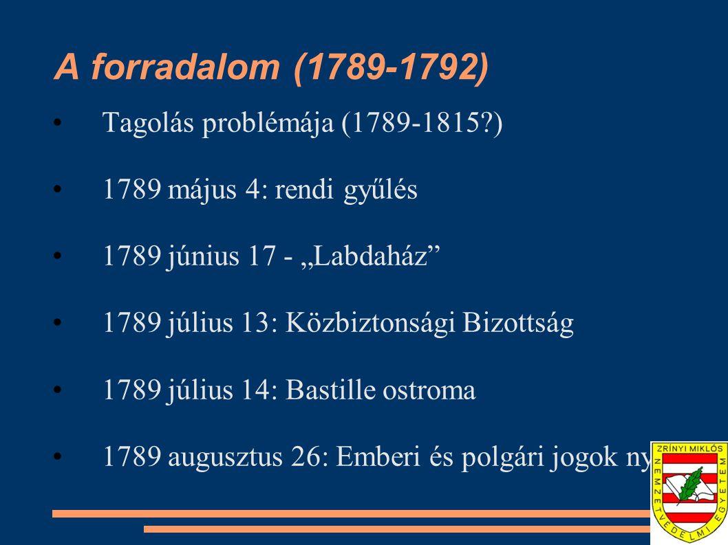 """A forradalom (1789-1792) Tagolás problémája (1789-1815?) 1789 május 4: rendi gyűlés 1789 június 17 - """"Labdaház"""" 1789 július 13: Közbiztonsági Bizottsá"""