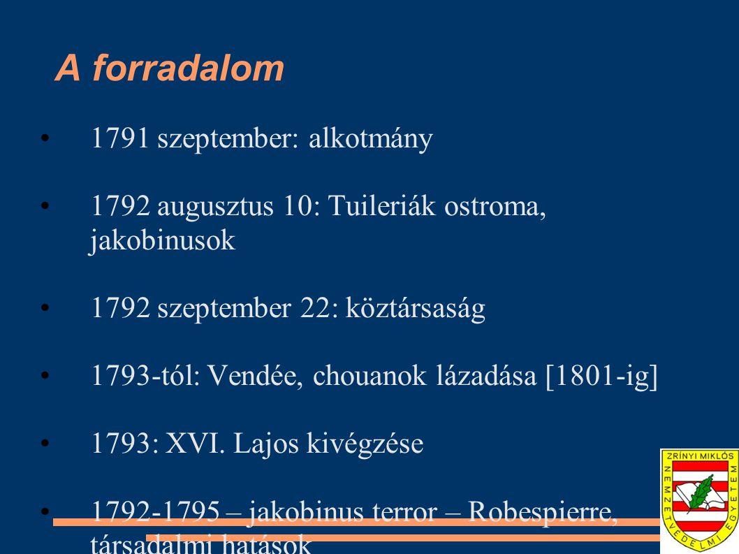 A forradalom 1791 szeptember: alkotmány 1792 augusztus 10: Tuileriák ostroma, jakobinusok 1792 szeptember 22: köztársaság 1793-tól: Vendée, chouanok l