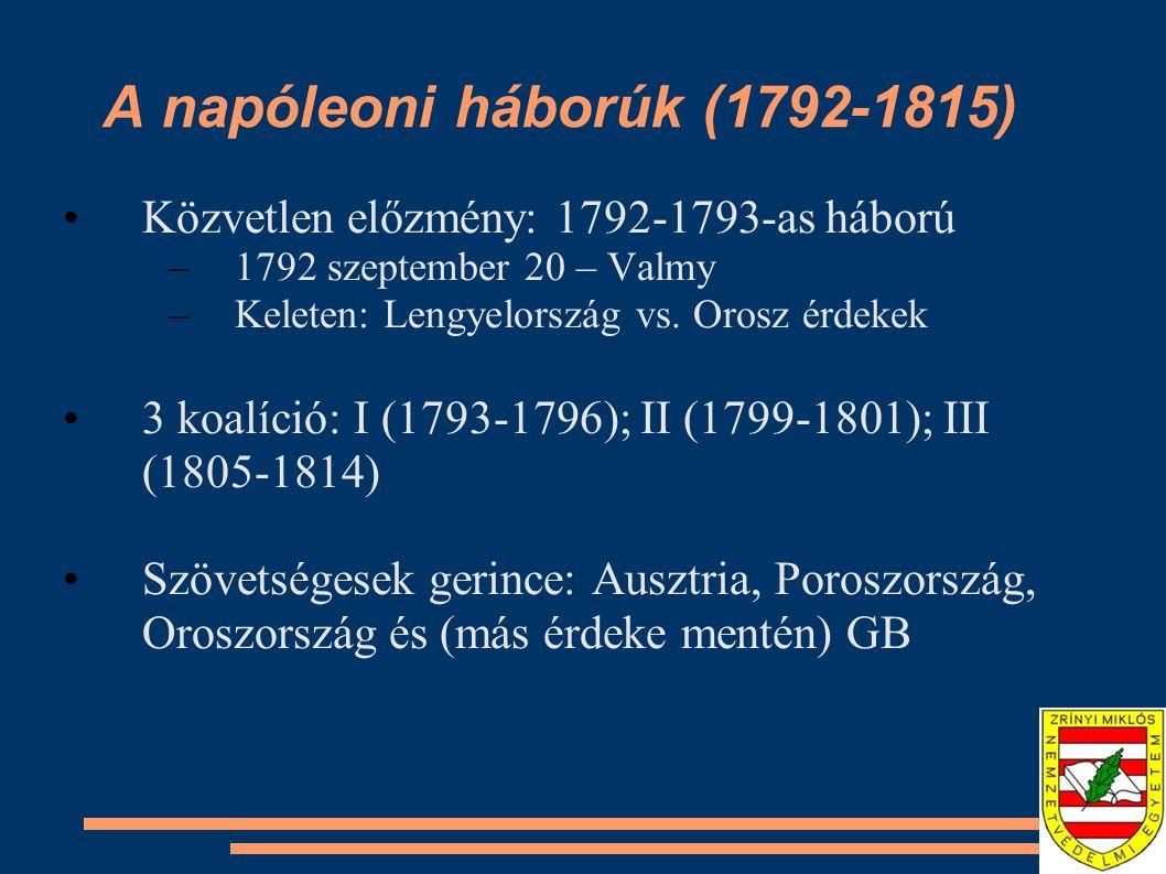 A napóleoni háborúk (1792-1815) I koalíció (1793-1796) Forradalom exportja 1795-1796-os itáliai hadjárat - Napóleon Bonaparte (1769-1821) –1796 május 10: Lodi-i híd 1797: Campo Fromio – Fr és Au.