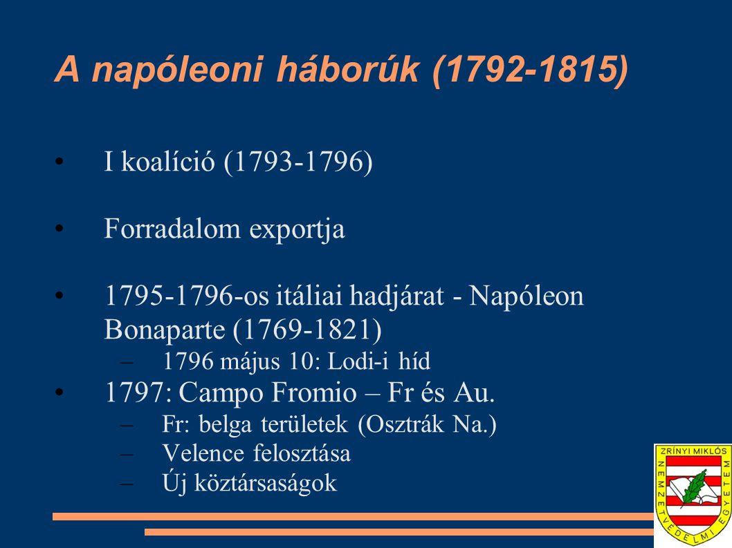 A napóleoni háborúk (1792-1815) I koalíció (1793-1796) Forradalom exportja 1795-1796-os itáliai hadjárat - Napóleon Bonaparte (1769-1821) –1796 május