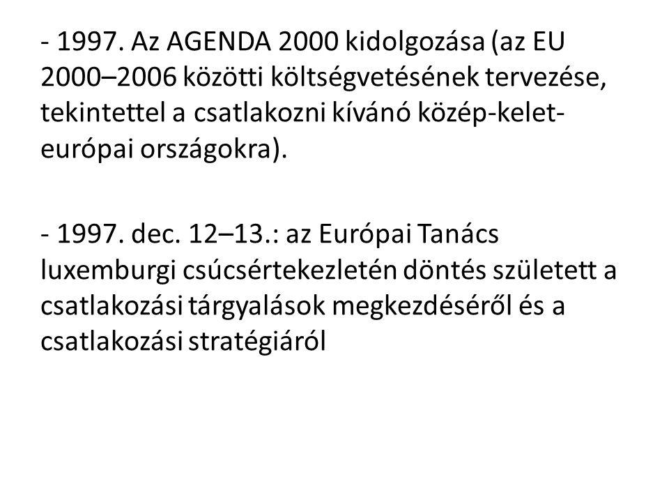 - 1997. Az AGENDA 2000 kidolgozása (az EU 2000–2006 közötti költségvetésének tervezése, tekintettel a csatlakozni kívánó közép-kelet- európai országok