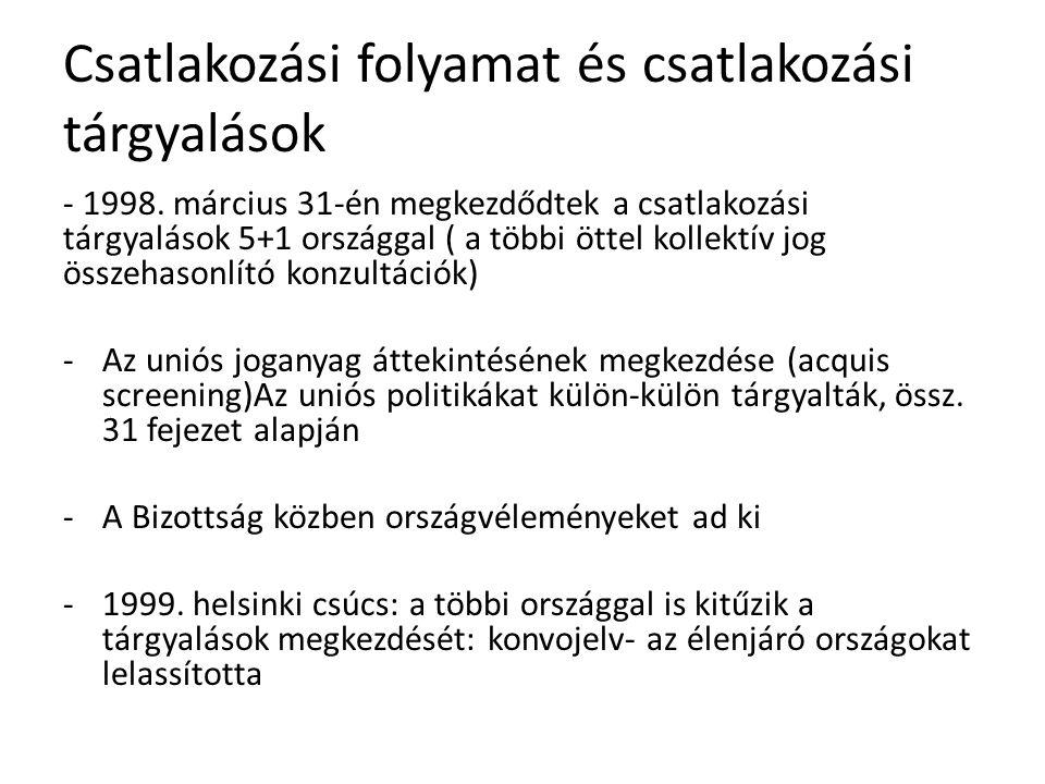 Csatlakozási folyamat és csatlakozási tárgyalások - 1998.