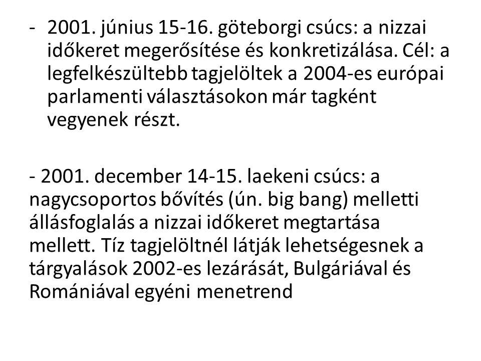 -2001. június 15-16. göteborgi csúcs: a nizzai időkeret megerősítése és konkretizálása. Cél: a legfelkészültebb tagjelöltek a 2004-es európai parlamen