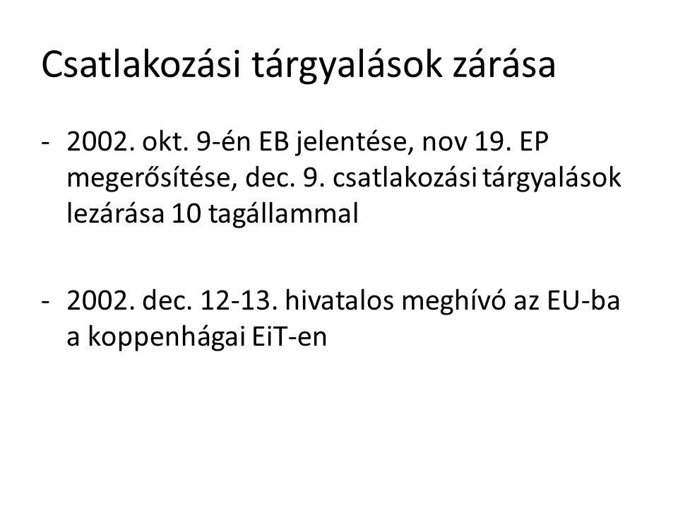 Csatlakozási tárgyalások zárása -2002. okt. 9-én EB jelentése, nov 19. EP megerősítése, dec. 9. csatlakozási tárgyalások lezárása 10 tagállammal -2002