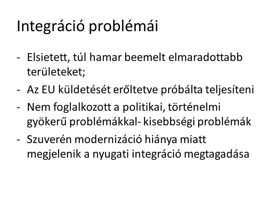 Integráció problémái -Elsietett, túl hamar beemelt elmaradottabb területeket; -Az EU küldetését erőltetve próbálta teljesíteni -Nem foglalkozott a pol