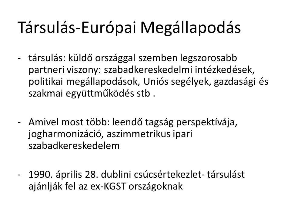 -Magyarország 1990-nóben a többpárti parlamenti választások és koalíciós kormányzás megteremtésével érik meg -1990.dec.20-án megkezdődnek a tárgyalások Magyarországgal, Lengyelországgal és Csehországgal -1991.