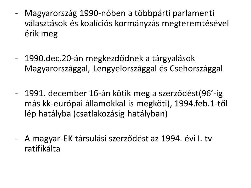-Magyarország 1990-nóben a többpárti parlamenti választások és koalíciós kormányzás megteremtésével érik meg -1990.dec.20-án megkezdődnek a tárgyaláso