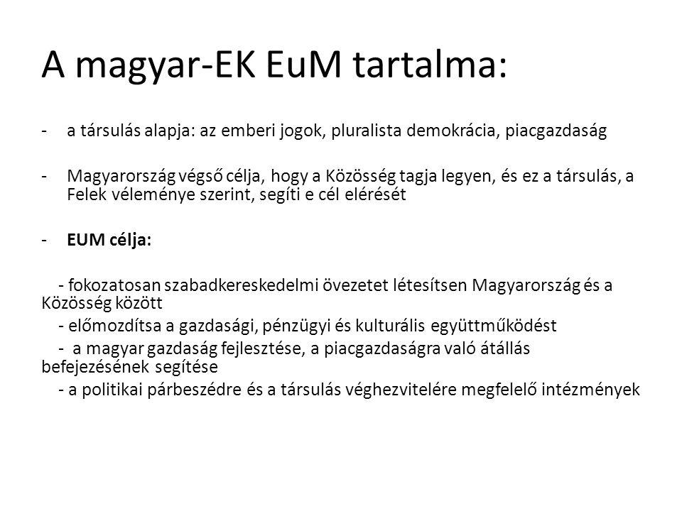 A magyar-EK EuM tartalma: -a társulás alapja: az emberi jogok, pluralista demokrácia, piacgazdaság -Magyarország végső célja, hogy a Közösség tagja legyen, és ez a társulás, a Felek véleménye szerint, segíti e cél elérését -EUM célja: - fokozatosan szabadkereskedelmi övezetet létesítsen Magyarország és a Közösség között - előmozdítsa a gazdasági, pénzügyi és kulturális együttműködést - a magyar gazdaság fejlesztése, a piacgazdaságra való átállás befejezésének segítése - a politikai párbeszédre és a társulás véghezvitelére megfelelő intézmények