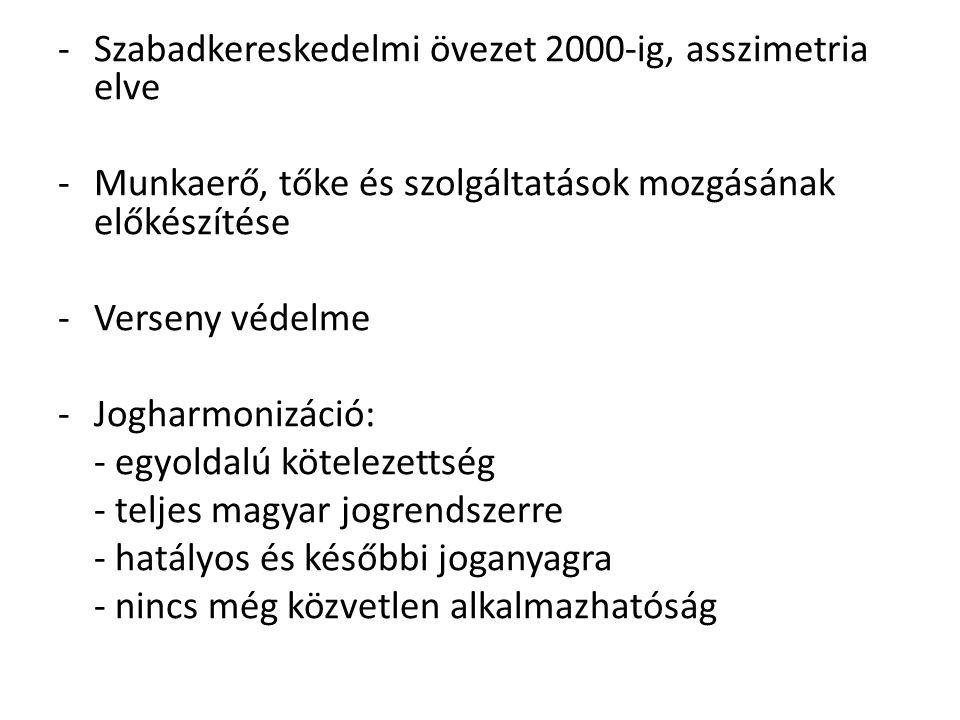 -Szabadkereskedelmi övezet 2000-ig, asszimetria elve -Munkaerő, tőke és szolgáltatások mozgásának előkészítése -Verseny védelme -Jogharmonizáció: - egyoldalú kötelezettség - teljes magyar jogrendszerre - hatályos és későbbi joganyagra - nincs még közvetlen alkalmazhatóság