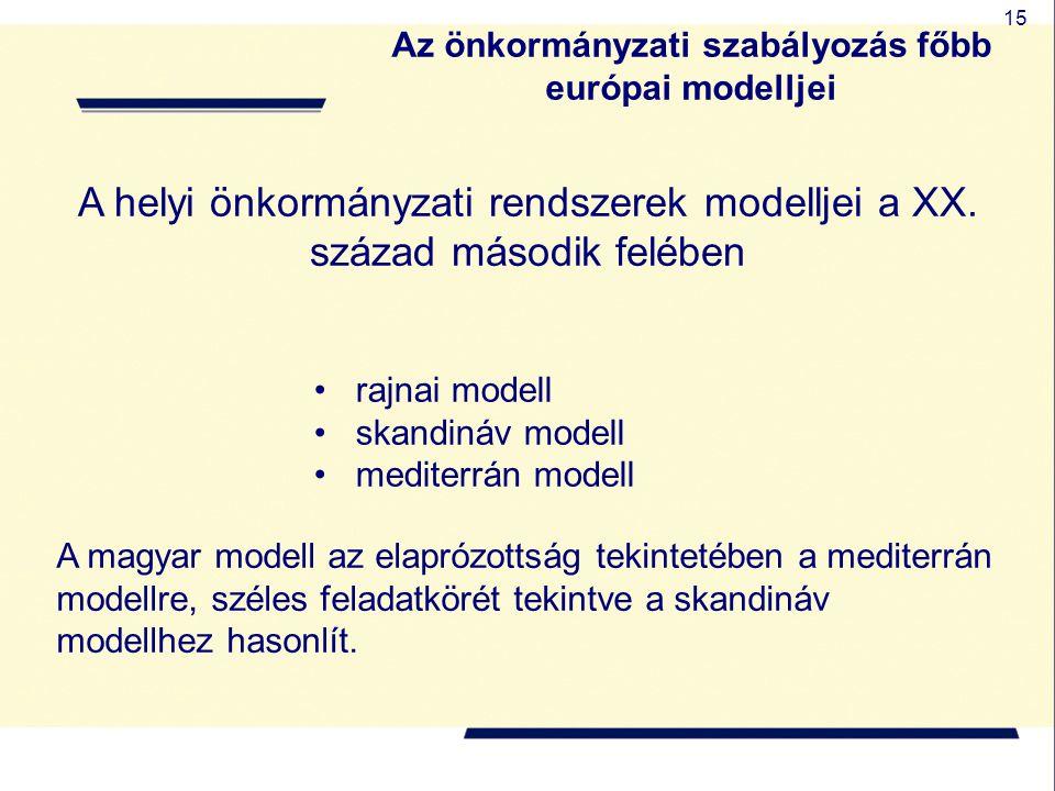 15 A helyi önkormányzati rendszerek modelljei a XX. század második felében rajnai modell skandináv modell mediterrán modell A magyar modell az elapróz