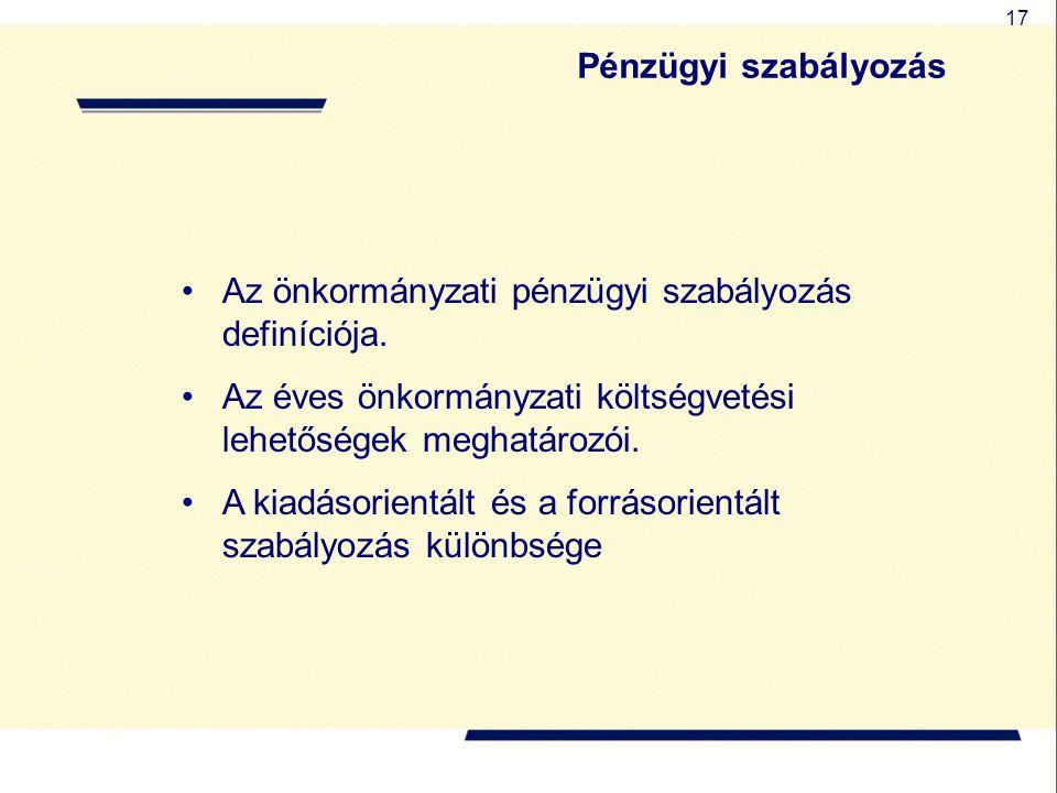 17 Az önkormányzati pénzügyi szabályozás definíciója. Az éves önkormányzati költségvetési lehetőségek meghatározói. A kiadásorientált és a forrásorien