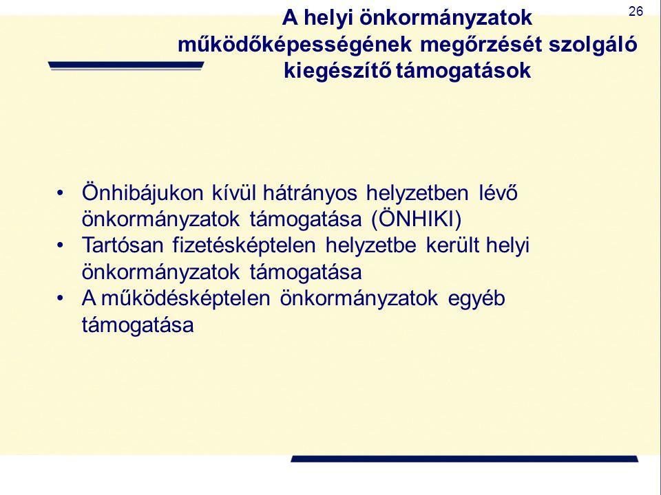 26 A helyi önkormányzatok működőképességének megőrzését szolgáló kiegészítő támogatások Önhibájukon kívül hátrányos helyzetben lévő önkormányzatok tám
