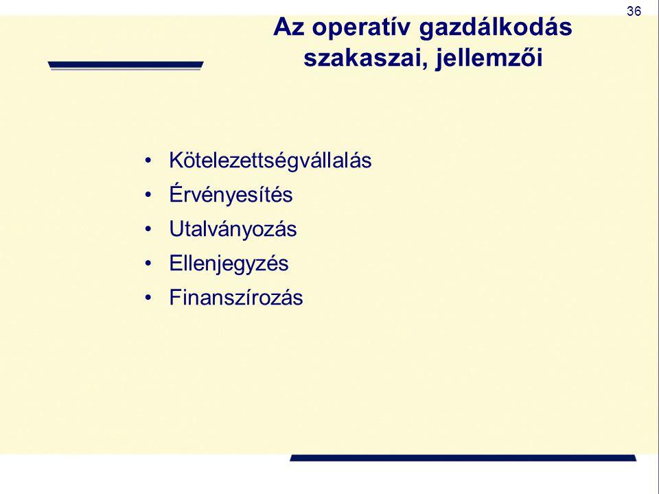 36 Az operatív gazdálkodás szakaszai, jellemzői Kötelezettségvállalás Érvényesítés Utalványozás Ellenjegyzés Finanszírozás