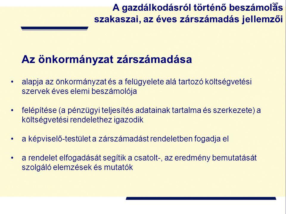 37 Az önkormányzat zárszámadása alapja az önkormányzat és a felügyelete alá tartozó költségvetési szervek éves elemi beszámolója felépítése (a pénzügy