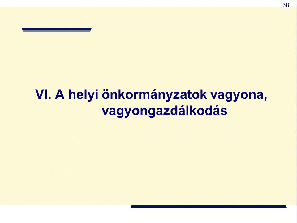 38 VI. A helyi önkormányzatok vagyona, vagyongazdálkodás
