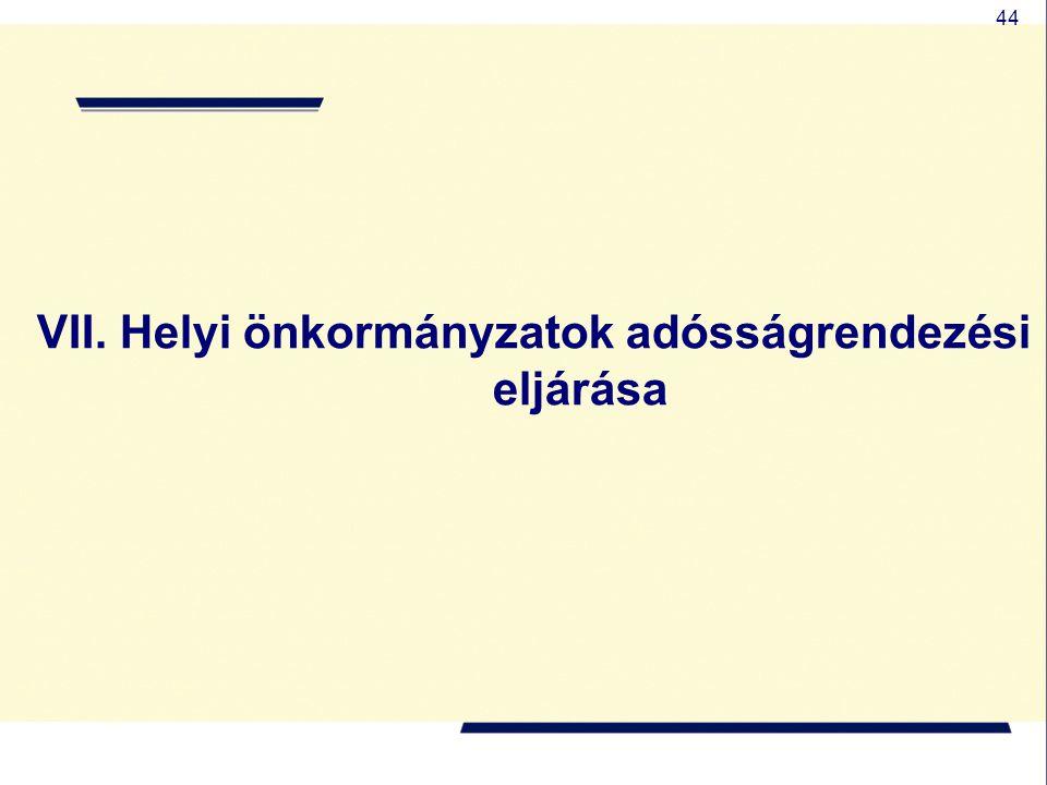44 VII. Helyi önkormányzatok adósságrendezési eljárása
