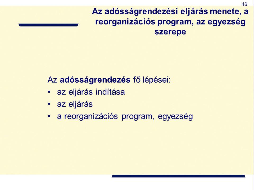 46 Az adósságrendezési eljárás menete, a reorganizációs program, az egyezség szerepe Az adósságrendezés fő lépései: az eljárás indítása az eljárás a r