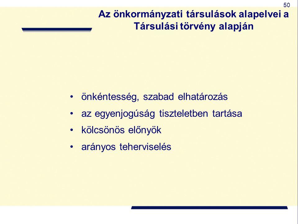 50 Az önkormányzati társulások alapelvei a Társulási törvény alapján önkéntesség, szabad elhatározás az egyenjogúság tiszteletben tartása kölcsönös el